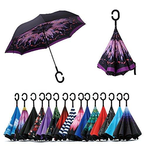 Jooayou Parapluie Inversé, Anti-UV Double Couche Coupe-Vent Parapluie, Mains Libres poignée en forme C Parapluie (Feather)