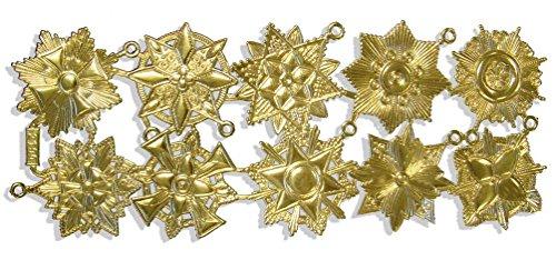 Kind Offizier Set Kostüm - Kunze A072190011 Orden Medaillen Set, 10 Stück, Geprägtes Papier, Gold