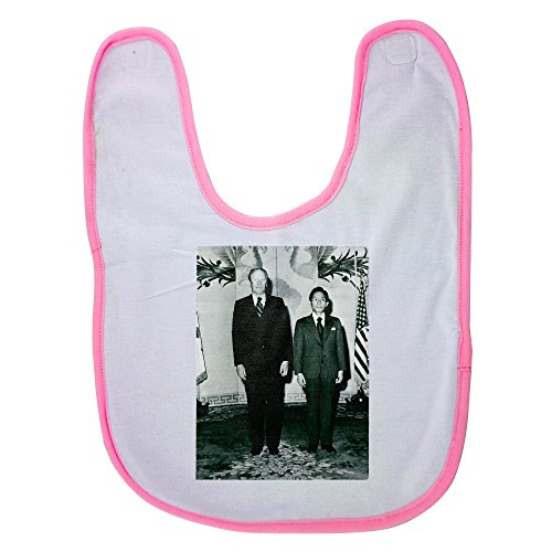 Pink baby bib with Gerald Rudolph Ford Jr standing with Park Chung-hee.