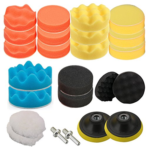 "OxoxO 26pcs 5""/125mm Drill Polishing Pad Buffing Sponge Auto Car Foam Pads Set M14 Drill Adapter With Shank"