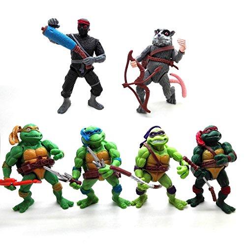 ONOGAL 6x Die Ninja Turtles Donatello Raphael Michelangelo Figuren Leonardo Splinter Shredder 4677