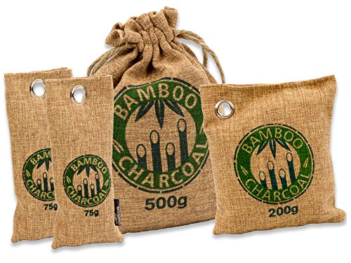 Natürlicher Bambus Lufterfrischer mit Aktivkohle – Wunderkissen – Luftreiniger für Wohnzimmer, Küche, Schlafzimmer, Bad & WC, Auto uvm. - Schadstofffrei und biologisch abbaubar - Sparset - braun