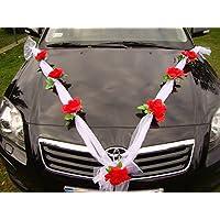 Autoschmuck - Nastro in organza con fiori artificiali, decorazione auto per matrimonio rosso/bianco