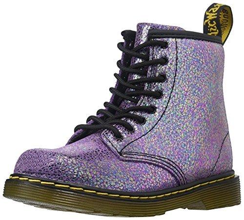 Dr Martens Brooklee Infant Grey Sparkly Leather Ankle Boots Violet