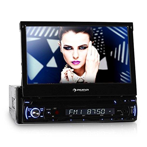 "Auna DTA90BT Autoradio DVD Bluetooth (Radio para coche con pantalla 7"" LCD, mando distancia, manos libres, CD, MP3, MPEG4, Puerto mini USB, RDS, lector ID3, Estandar DIN-ISO, panel control extraible antirrobo, estuche)"