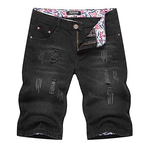 Anyu pantaloncini uomo shorts in jeans denim jeans corti fori pantaloni bermuda nero xl