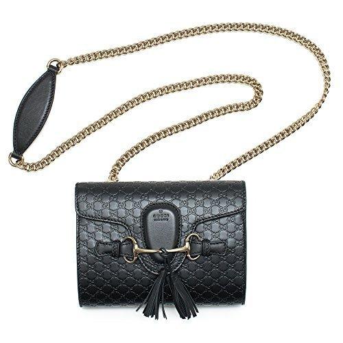 GUCCI EMILY Gucci SSIma Mini Umhängetasche schwarz Lederhandtasche