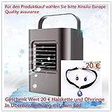 Mobiles Klimageräte Air Cooler mit Wasserkühlung Zimmer Raumentfeuchter Mini Klimaanlage ohne Abluftschlauch für Büro, Hotel, Garage, 3 Kühlstufen - 7 Stimmungslichter (Tragbares Schwarz)