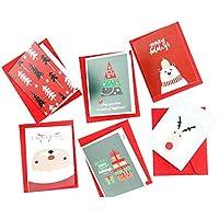NiceButy 12Pcs / Set Merry Christmas Greeting Cards Bulk di vacanza invernale dei cervi di Natale Biglietti d'auguri assortiti disegni (carte 6Pcs con 6Pcs buste) Strumenti