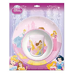 Disney Princess - Children's 3 Piece Dinner Set Including, tumbler, plate and bowl - Great Gift Idea