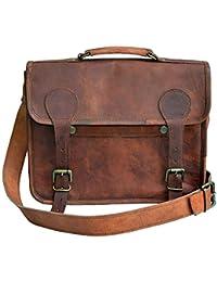 """13"""" Genuine Leather Messenger Bag For Men & Women Office Shoulder Bag Briefcase Laptop Bag Satchel By Mni"""