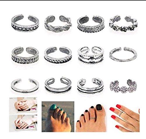 AJOYCN Zehenring 12/Set, Damen Schmuck Offen Verstellbar Retro Füßen Ring für Finger Fuß Netzteil