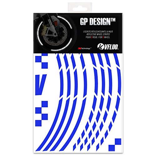 VFLUO GP DesignTM, Motorrad Retro reflektierende Felgenrandaufkleber Kit (1 Felge), 3M TechnologyTM, 7mm breit, Blau