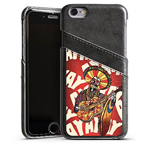 Apple iPhone 4 Housse Étui Silicone Coque Protection Mariachi Tête de mort Guitare Étui en cuir gris