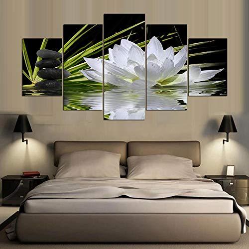 alicefen modernes Haus Wand Art Dekoration rahmenlose modulare Bild 5 stück weiße Lotusblume Wasser mit hd - leinwand