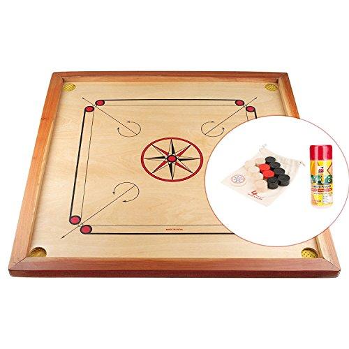 Gico Carrom Board 83 cm - Spielbrett Komplettset mit Steinen + Gleitpulver