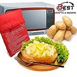 Petsdelite® Rot waschbar Kartoffelkocher Tasche Mikrowelle Kochen Kartoffelofen gebackene Kartoffeln in nur 4 Minuten nützlich Kochwerkzeug für Frauen