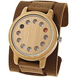 Rtimer Männer Bambusholz Uhren 12 Löcher Design Japanische Quarz-Uhrwerk Armband