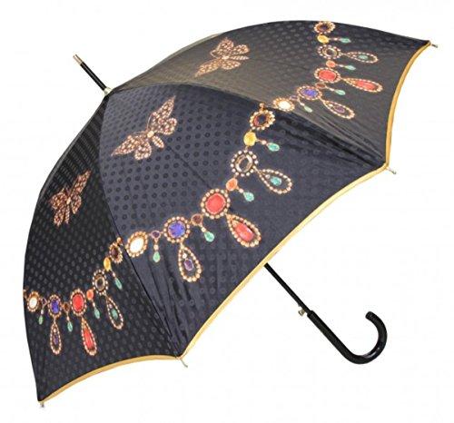 Guy De Jean Designer Regenschirm Motivschirm mit zarten Schmetterlinge und Schmuck Kette Mod1 Schwarz - Automatikschirm - Eleganter Stockschirm - Luxus Design - Made in Paris