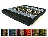 Kapok Sitzkissen 50x50x6,5cm der Marke Asia Wohnstudio, optimal als Stuhlauflage oder Meditationskissen, Bodenkissen bzw. Stuhlkissen (blau / Elefanten)