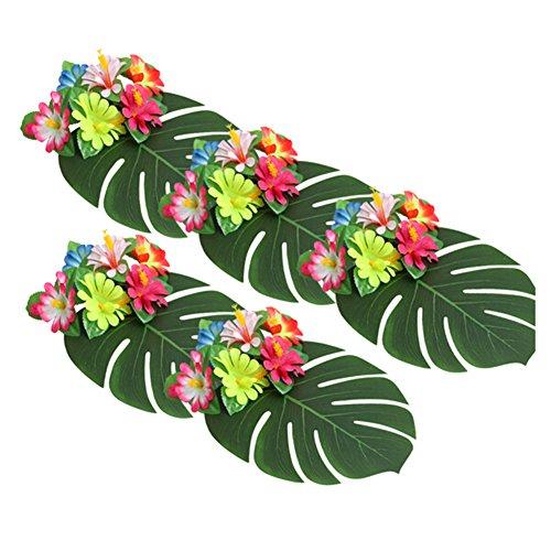 iKulilky 35 Stücke Künstliche Tropische Palm Blätter und Blume für hawaiianische Tisch Jungle Beach Theme BBQ Geburtstag Luau Dschungel Party Dekoration (Blumen und Blätter)