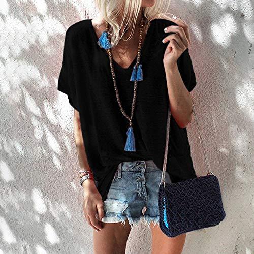 Preisvergleich Produktbild ljradj banxiu Sommer Candy Farbe Größe Lose V-Ausschnitt Kurzarm T-Shirt Weiblich Schwarz XL