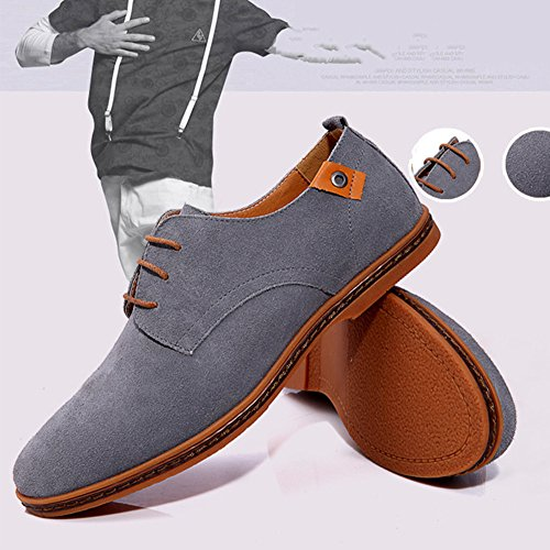 Aardimi Mens Lace-up Shoes Casual Shoes New Spring Men Flats Lace Up Uomo Scamosciato In Pelle Scamosciata Uomo Scarpe In Pelle (produttore Tabella Delle Taglie Nella Foto Nota) Grigio