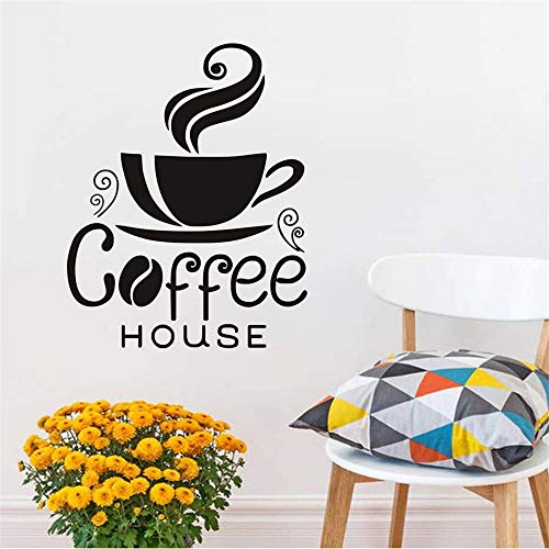 Zxfcczxf Eine Tasse Dampfende Kaffee Wandtattoo Kreative Design Home Decor Diy Abnehmbare Pvc Wandaufkleber Für Kaffee Haus 46 * 59 ()