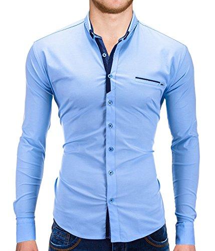 Better Sleep tylz dowbz Slim Fit Camicia da uomo a maniche lunghe camicie tempo libero Business in vari colori (da S a XXL) azzurro M