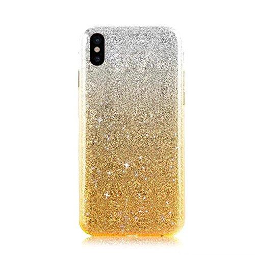 QianYang Transparente Coque pour iPhone X TPU Silicone Etui iPhone X Ultra Slim Soft Flexible TPU Bumper Protective Case Cover pour iPhone X Souple Coque avec Bling Diamant Crystal Strass TPU Bumper H Bing Souple-Jaune