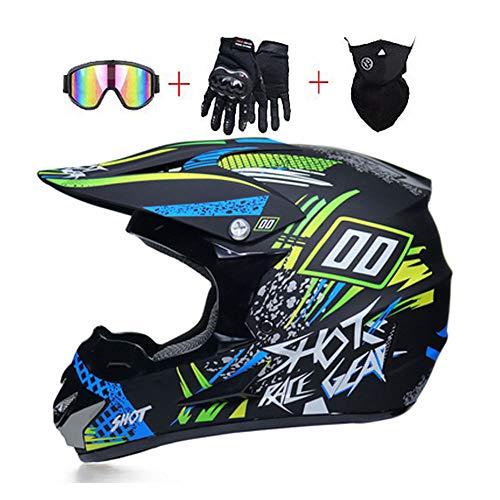 Mrddz Motocross Helm Unisex - Herren Motorradhelm mit Brillen Handschuhe Maske, Adult Motorrad Off-Road-Helm DH Enduro Quads Motorräder Crosshelm für Erwachsene Männer Frauen,L