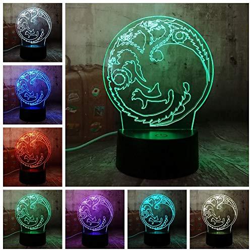 Game Of Thrones Haus Von Targaryen Ein Lied Von Eis Und Feuer 3D Rgb Nachtlicht USB Tischlampe Wohnkultur Weihnachtsgeschenk