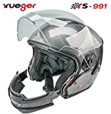 rueger Multifunktionshelm Jethelm/Integralhelm RS-991 Titanium Grau mit zusätzlichem klappbarem Sonnenvisier Mit neueste ECE 22/05 Größe M (57-58)