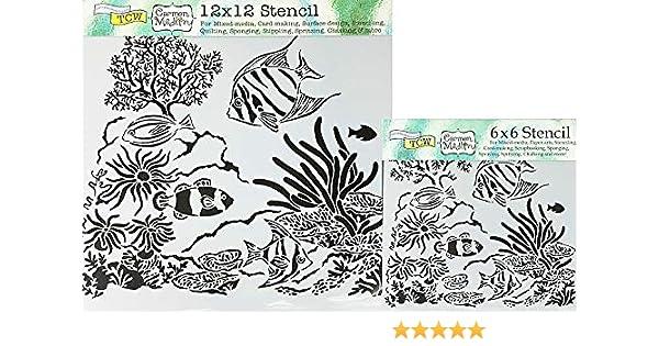 6x6 Mini Aquarium Design Layering Stencil Crafters Workshop for Paper Crafting