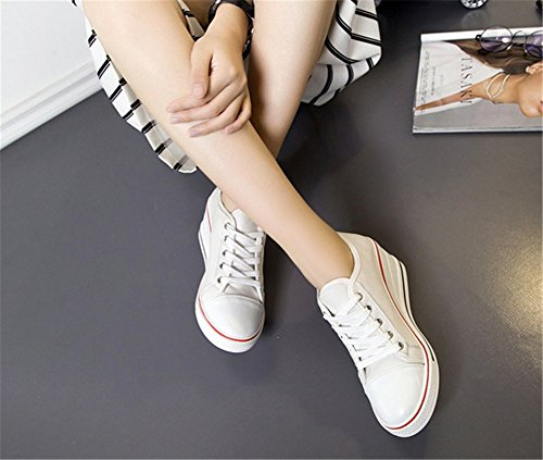 Wealsex Damen Canvas Sneakers Keilabsatz Schnürhalbschuhe Wedges Sportschuhe 2017 Frühling Sommer Segeltuchschuhe Weiß