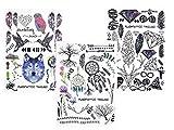 GRAFISCHE TATTOOS LINIEN TATTOOS 3 Stück SET FAKE TATTOOS FLASH TATTOO WOLF VÖGEL FEDER TRAUMFÄNGER BÄUME BLUMEN