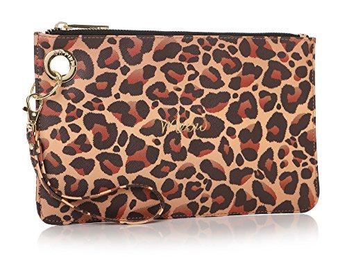 Shruti Meow Leopard Haut Tasche Handtasche Kupplung Cosmetics Make-up (Leopard-haut-taschen)