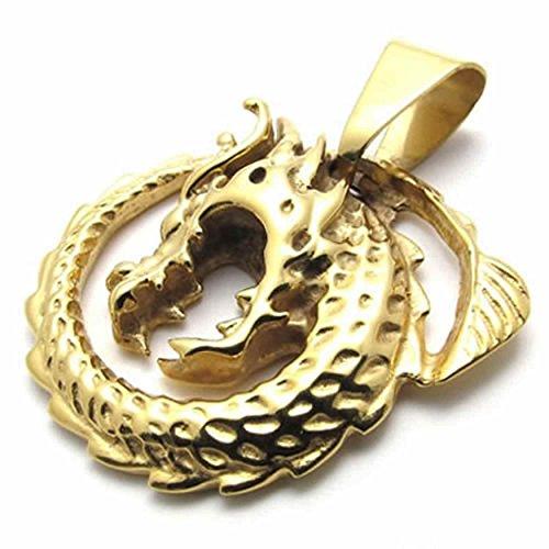 AnaZoz Modeschmuck Edelstahl Herren Anhänger Halskette Drache Anhänger Tribal Biker Gold 18-26 Zoll (Herren Ring Cobalt Hochzeit)