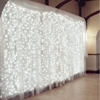 Rocita 300LED 3M*3M 8 Modes LED Guirlandes Lumineuses Rideau Fenêtre Chaîne de Lampes pour Décoration Noël Fête Mariage Anniversaire Maison Jardin - Blanc