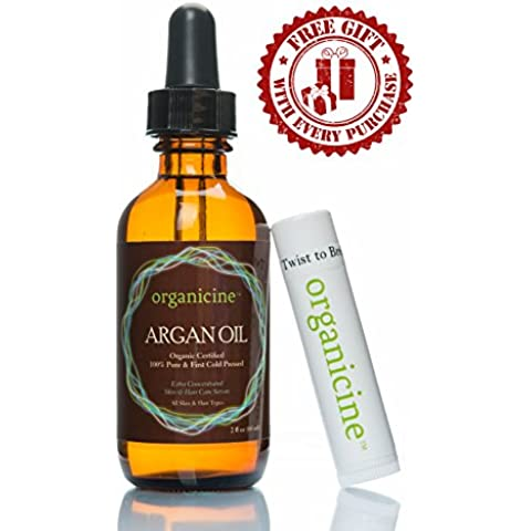 organicine Virgen Aceite de Argán 100% puro & Orgánico (Bálsamo Labial (ChapStick como un regalo) Natural Tratamiento para cabello, rostro, clavos, piel, cuerpo–PREMIUM–Producto para el cuidado de la USDA Certified Argon, prensado en frío de Marruecos, Gran humectante–comprar riesgo libre + Get libre E-BOOK como un regalo (precio es para 1botella sólo)