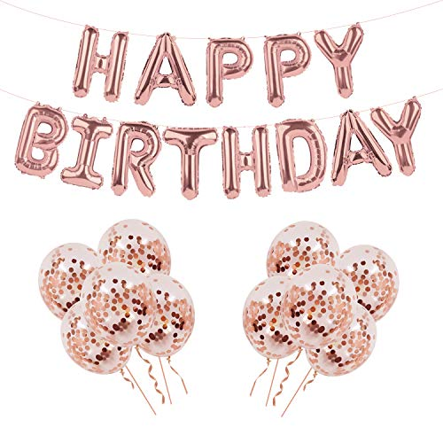 Alles Gute zum Geburtstag Ballon Banner, Rose Gold Aluminium Film Ballon mit 10 Stück Rose Gold Konfetti Ballons für Geburtstag Dekoration