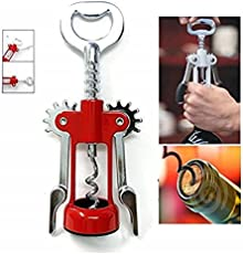 Stainless Steel Wing Style Wine / Champagne Bottle Corkscrew Opener and Bottle Opener