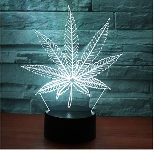 3D Led Nachtlicht Hanfblatt Mit 7 Farben Licht Für Heimtextilien Lampe Erstaunliche Visualisierung Optische Täuschung Ehrfürchtig