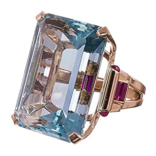 Yiwencult Women Fashion Faux Aquamarine Finger Ring Wedding Party Engagement Jewelry Gift - Ocean Blue US 9