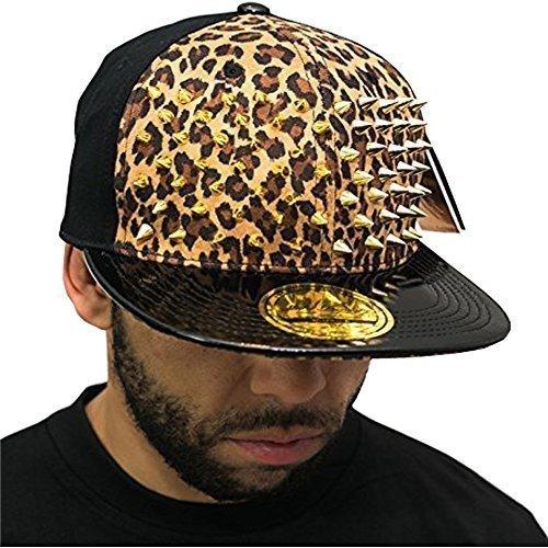 Bling leopard snapback mit Nieten, beige gold SP premium collection flachem Schirm baseball Caps