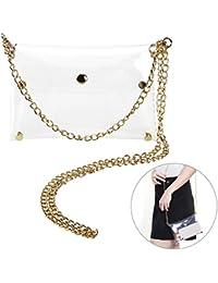 Tinksky Clutch Shoulder Bag Crossbody Bag With Chain Strap Handbag Purse, Gift For Women (Transparent Color)