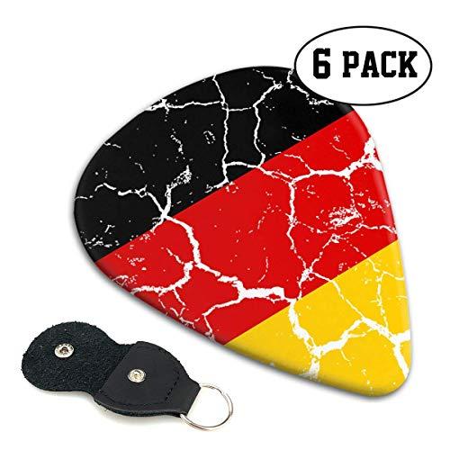 Gitarrenplektren aus Zelluloid in Form von Deutschland-Flagge, Crack 351, für elektrische und akustische Gitarre, 71 mm, 6 Stück (Gitarre Flagge)