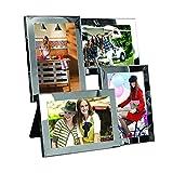 Bilderrahmen - Collage zum Aufhängen oder Hinstellen - aus verchromtem Stahl - für 4 Fotos