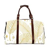Man Travel Bag Beautiful Gold Glitter Feathers Classic Oversized Waterproof Pu Leather Beauty Travel Bag Beauty Travel Bag