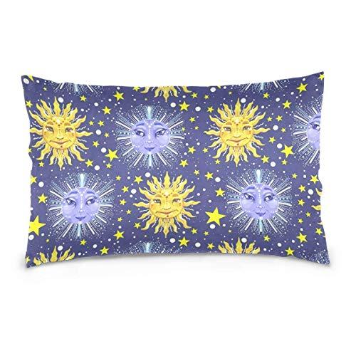 Celestial Home Decor (Gxdchfj 100% Cotton Kissencase Cushion Cover Sun Moon and Stars Celestial Art Home Decor Sofa Throw Kissen Cover Double Sided Color Printing)